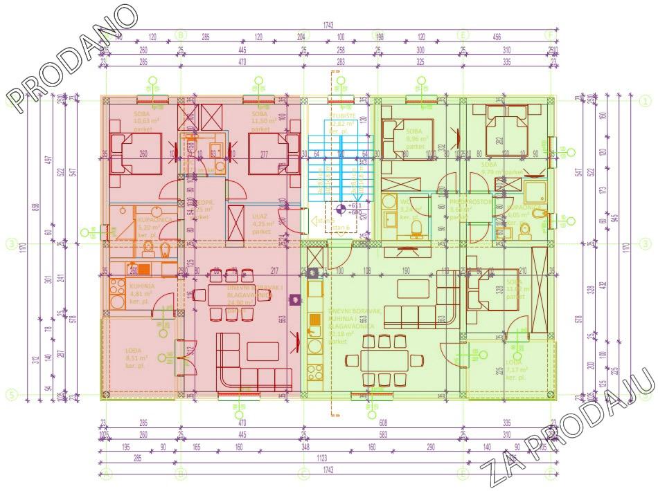 Izgradnja stanova Biograd - Drugi kat lijevi stan prodan, desni slobodan