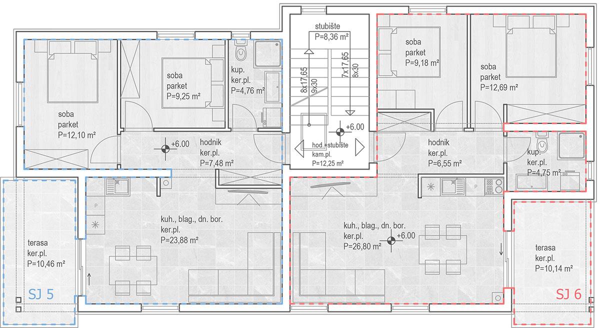Izgradnja stanova Biograd - Tlocrt drugi kat