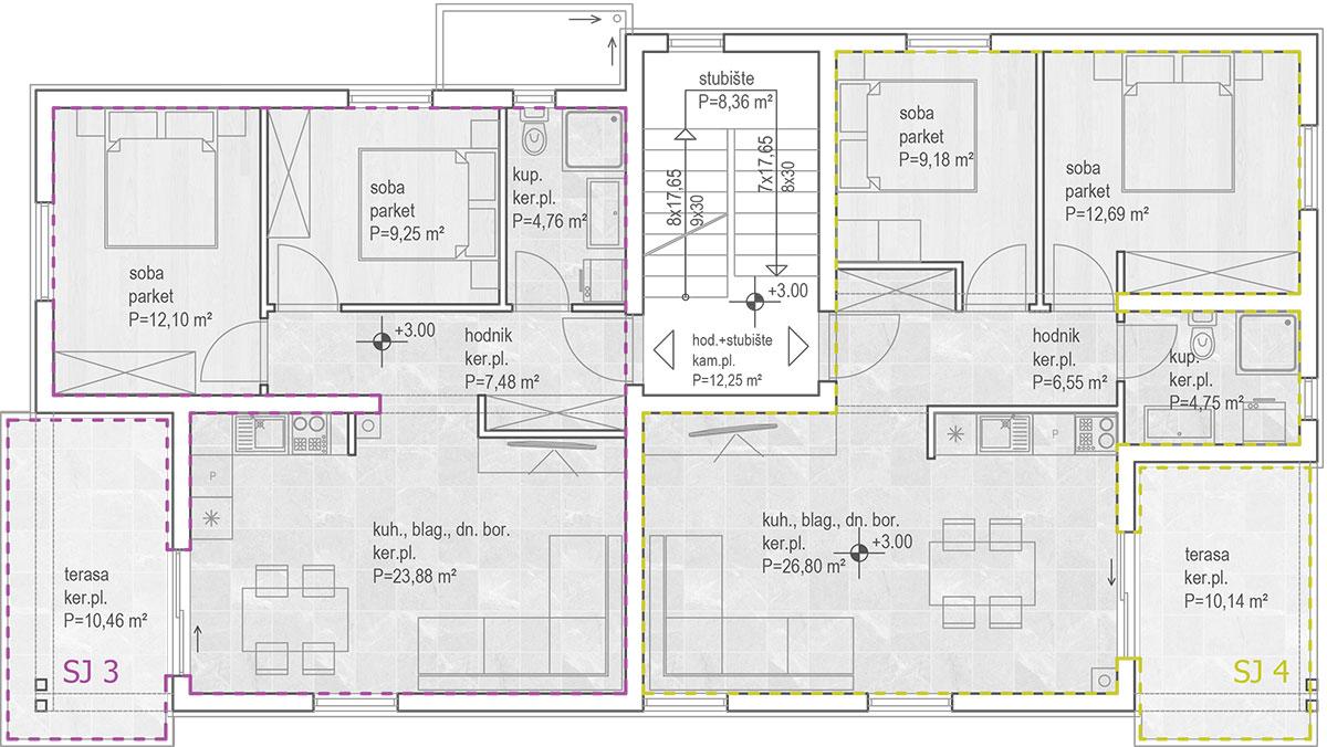 Izgradnja stanova Biograd - Tlocrt prvi kat
