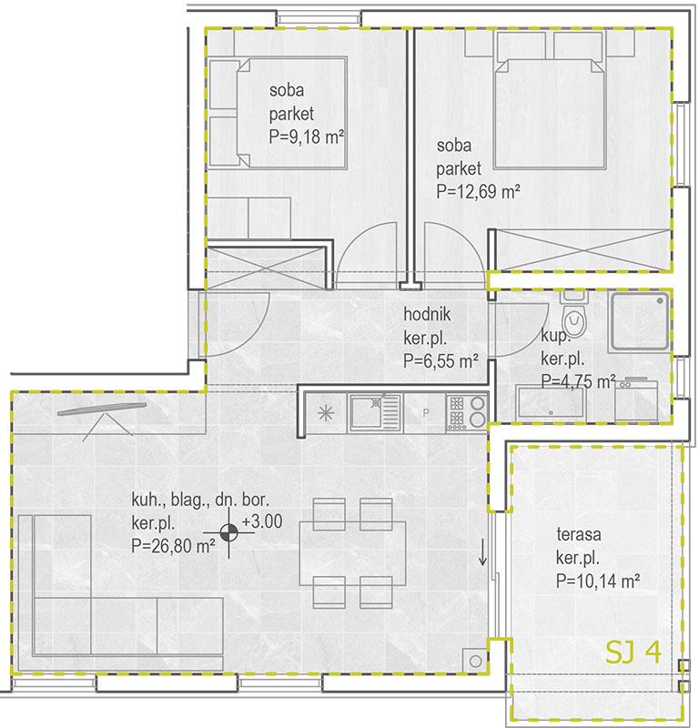 Izgradnja stanova Biograd - tlocrt prizemlje